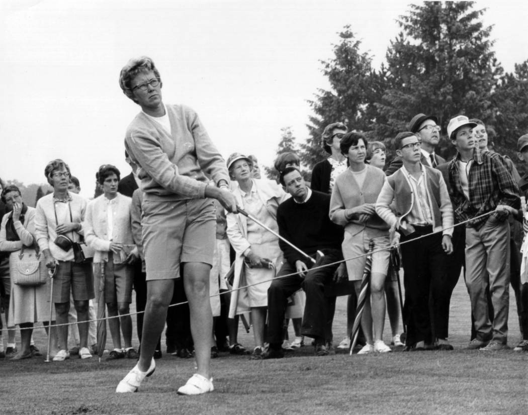 The gallery follows Mickey Wright's iron shot from the fairway at the Toronto Golf Club in 1967 ...