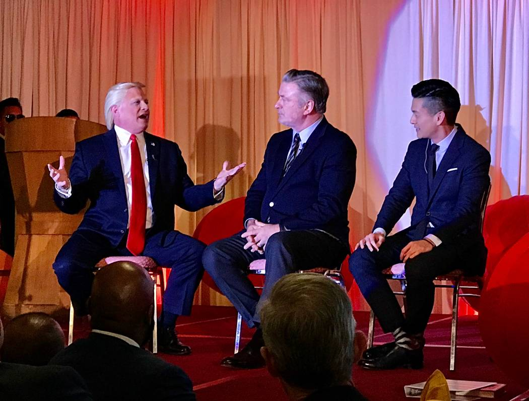John Di Domenico, Alec Baldwin and California State Assemblyman Evan Low are shown at a fundrai ...