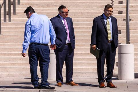 Defendants Bradley Campos, left, Diego Garcia and Cesar Morales leave the Lloyd George U.S. Cou ...