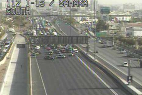 Traffic is shut down on Interstate 15 near Sahara Avenue, Wednesday, Feb. 19, 2020. (RTC Cameras)