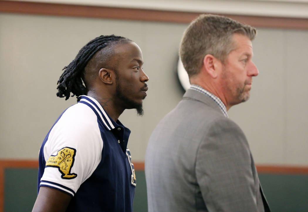 Durwin Allen, left, appears in court to set a new trial date with attorney Peter S. Christians ...