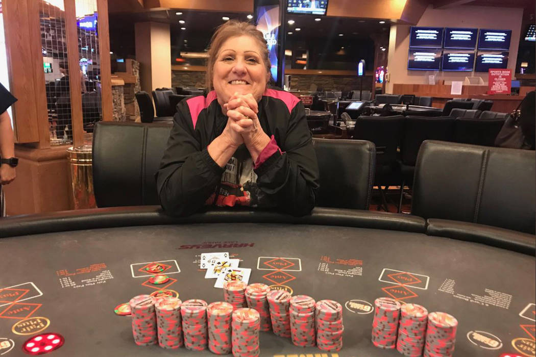 Dorothy Boone of Temple, Texas, is all smiles after she hit a Three Card Poker progressive jack ...