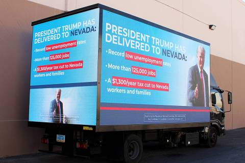 A mobile billboard paid for by the Republican National Committee will drive down the Strip Wedn ...