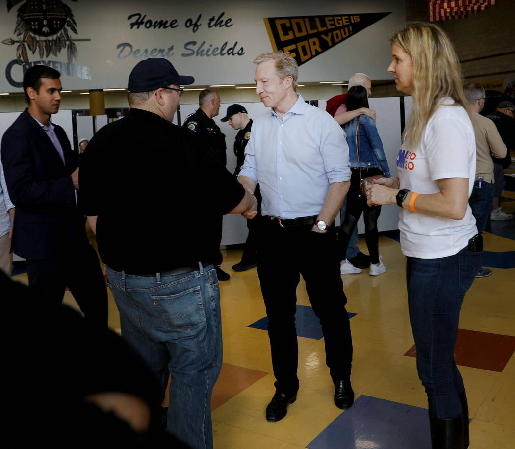 Presidential candidate Tom Steyer greets caucus participants at Cheyenne High School in North L ...