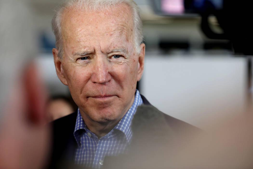 Democratic presidential candidate former Vice President Joe Biden is interviewed before the cau ...