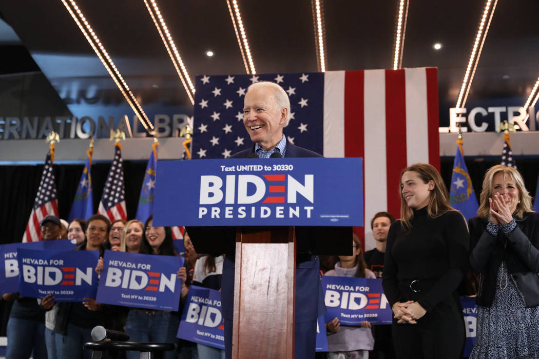 Democratic presidential candidate Joe Biden speaks to supporters at the International Brotherho ...