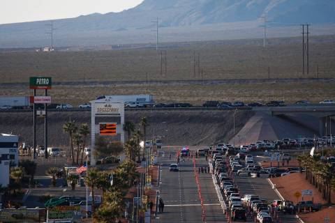 Traffic is seen backed up while trying to access Interstate 15 following a NASCAR race at the L ...