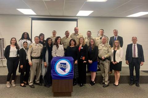 Law enforcement and local advocacy groups gathered at the Southern Nevada Family Justice Center ...