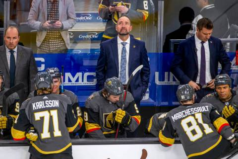 Vegas Golden Knights head coach Peter DeBoer looks up as his team readies for Washington Capita ...