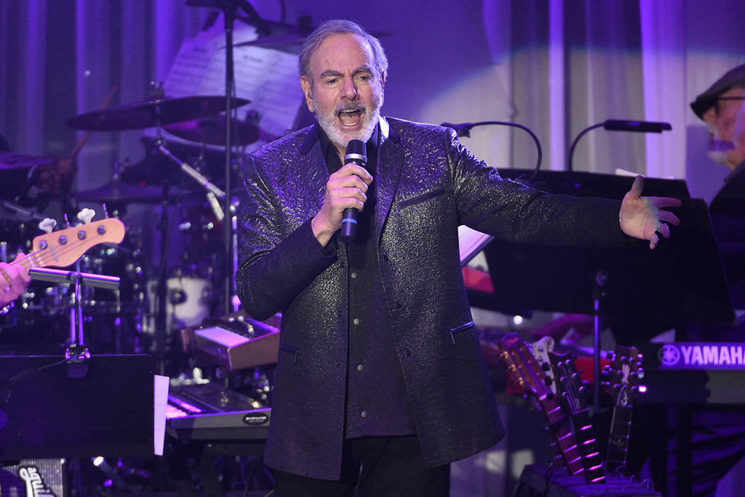 FILE - In this Feb. 11, 2017 file photo, Neil Diamond performs at the Clive Davis and The Recor ...