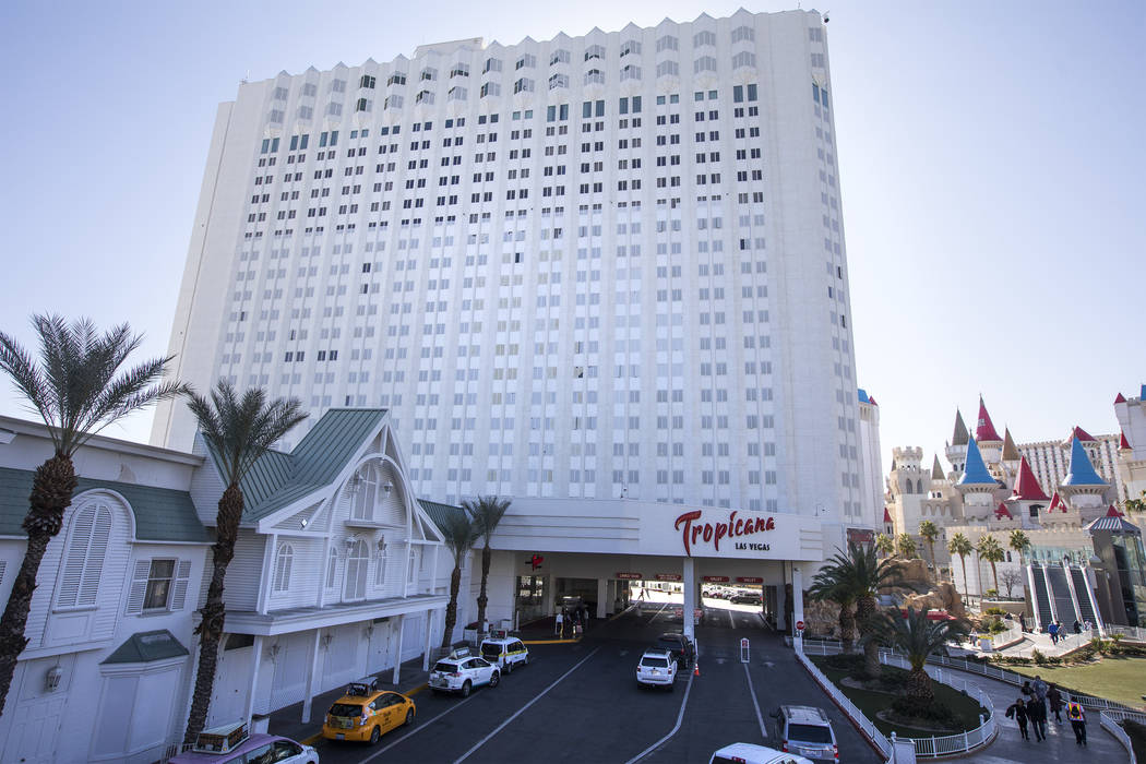 Tropicana is seen on the Strip on Wednesday, Feb. 19, 2020, in Las Vegas. Investors have contac ...