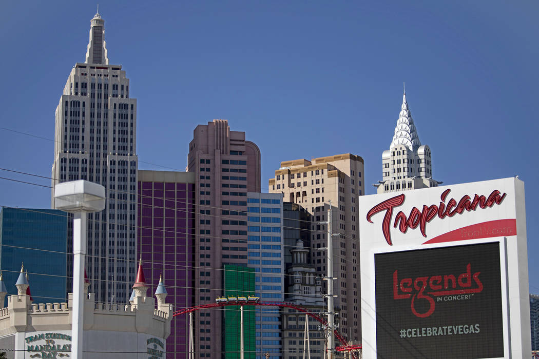 A Tropicana sign is seen in front of New York New York on the Strip on Wednesday, Feb. 19, 2020 ...