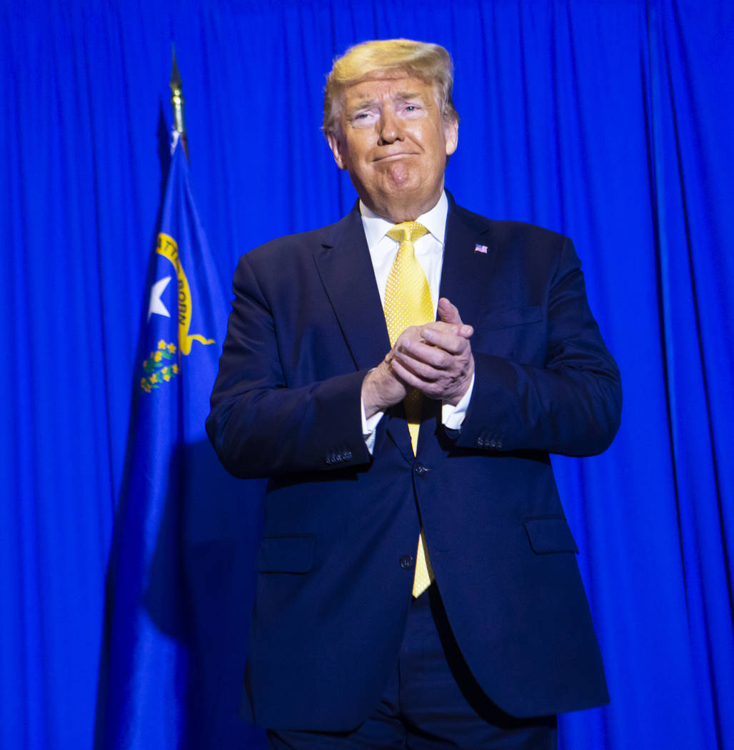 President Donald Trump arrives to speak at a graduation ceremony for participants of the Hope f ...