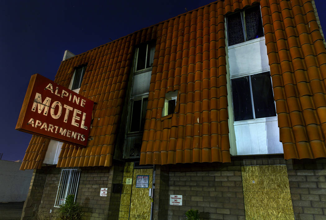 Exterior at night of the Alpine Motel Apartments on Sunday, Feb. 23, 2020, in Las Vegas. The pr ...