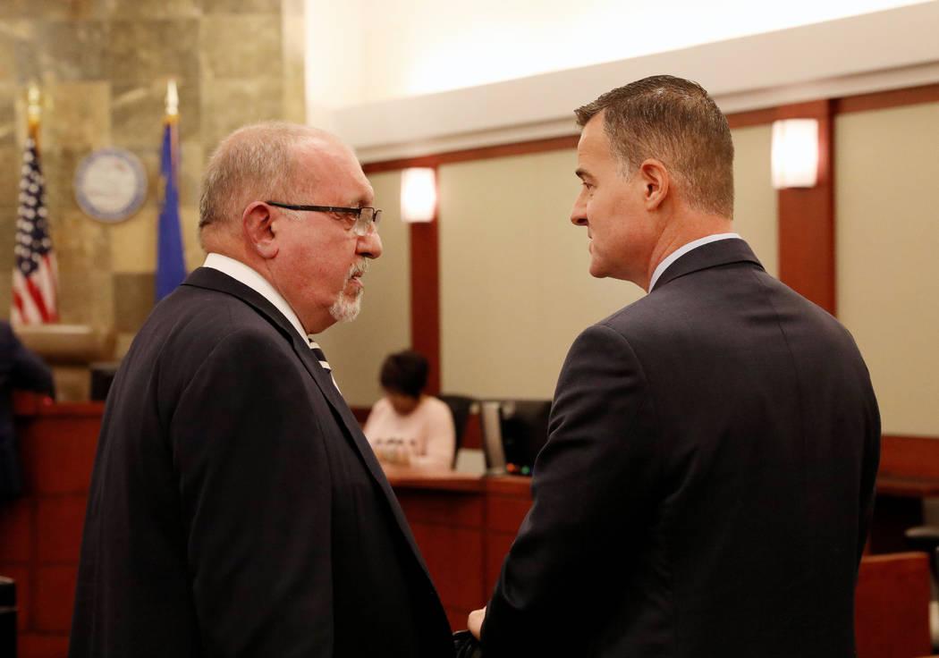 Attorney Dominic Gentile, left, and attorney Christian Matthew, representing the Las Vegas Metr ...