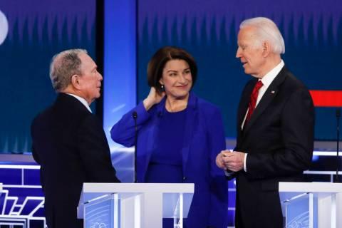 Democratic presidential candidates, former New York City Mayor Mike Bloomberg, left, Sen. Amy K ...
