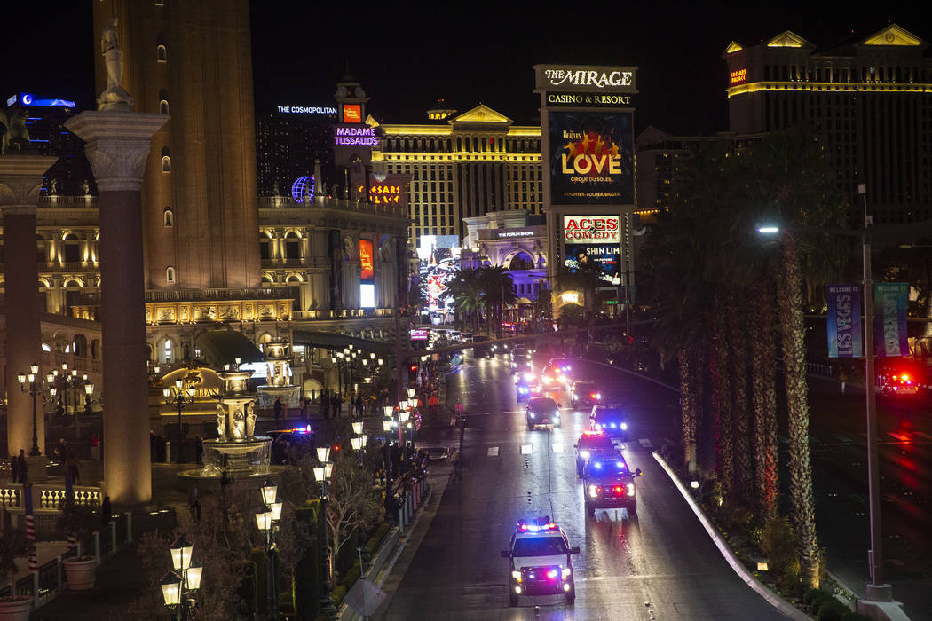 President Donald Trump's motorcade drives north on the Las Vegas Strip outside The Venetian wit ...