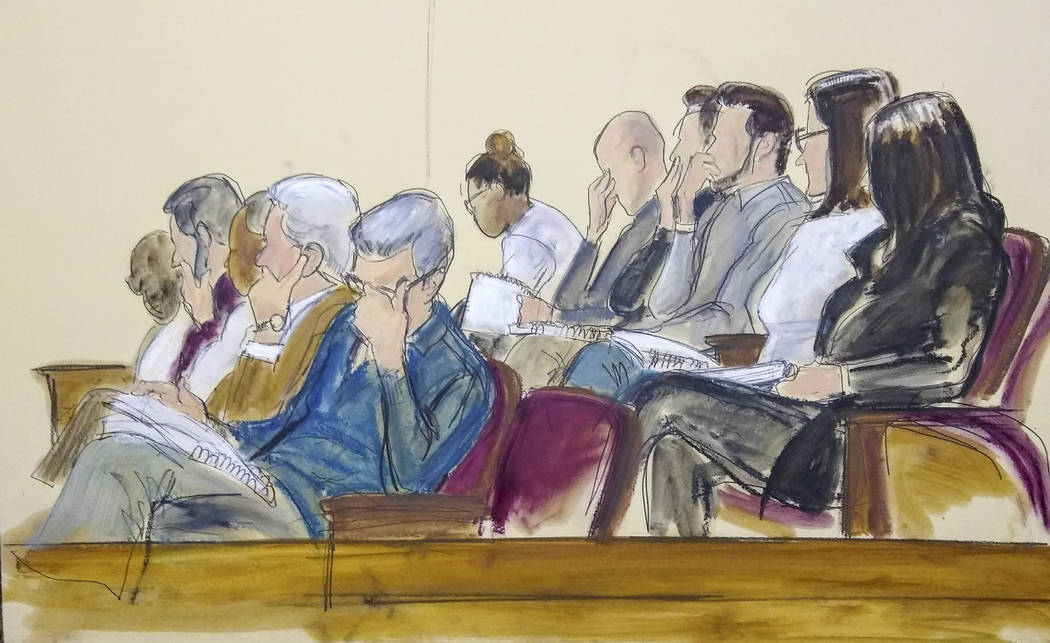 In this courtroom sketch, the jury in Harvey Weinstein's rape trial listens to a read back of M ...