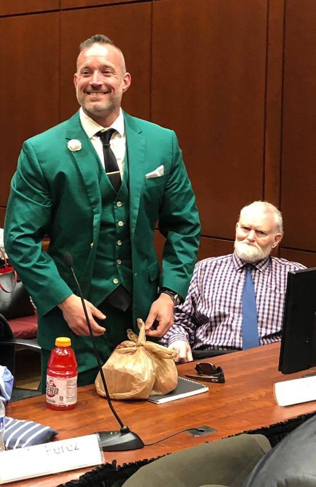 """Defense attorney Jess Marchese, left, and defendant James """"Jimbo"""" Gillespie, 72, are pictured o ..."""