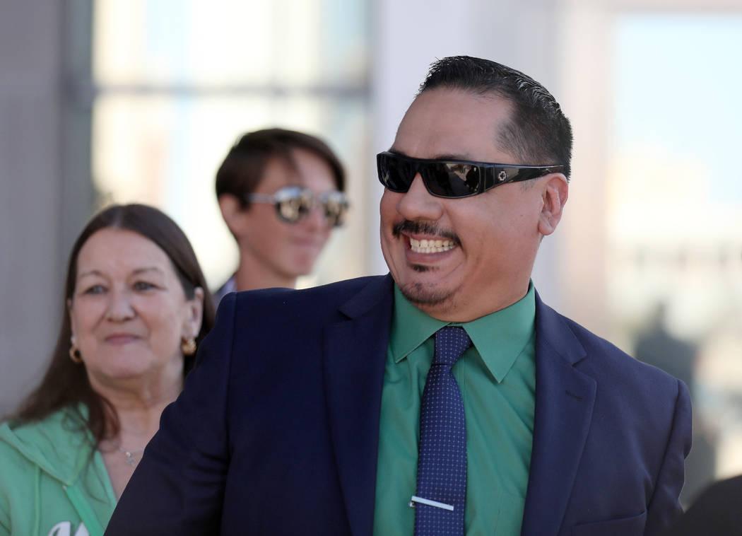 Defendant Albert Lopez exits the Lloyd George U.S. Courthouse in Las Vegas on Monday, Feb. 24, ...