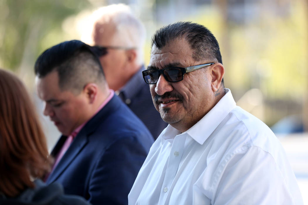 Pastor Palafox, right, one of eight Vagos Motorcycle Club members who were acquitted of all cha ...