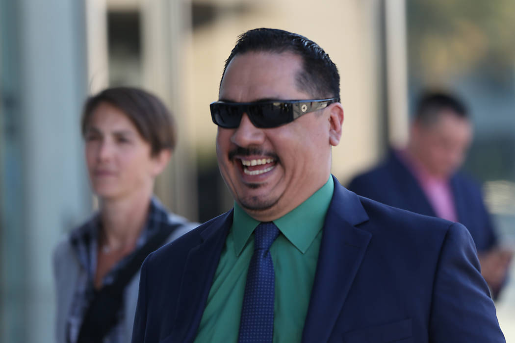 Albert Lopez, one of eight Vagos Motorcycle Club members who were acquitted of all charges, gre ...