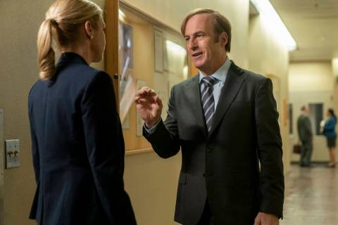 Bob Odenkirk as Jimmy McGill, Rhea Seehorn as Kim Wexler - Better Call Saul _ Season 5, Episode ...