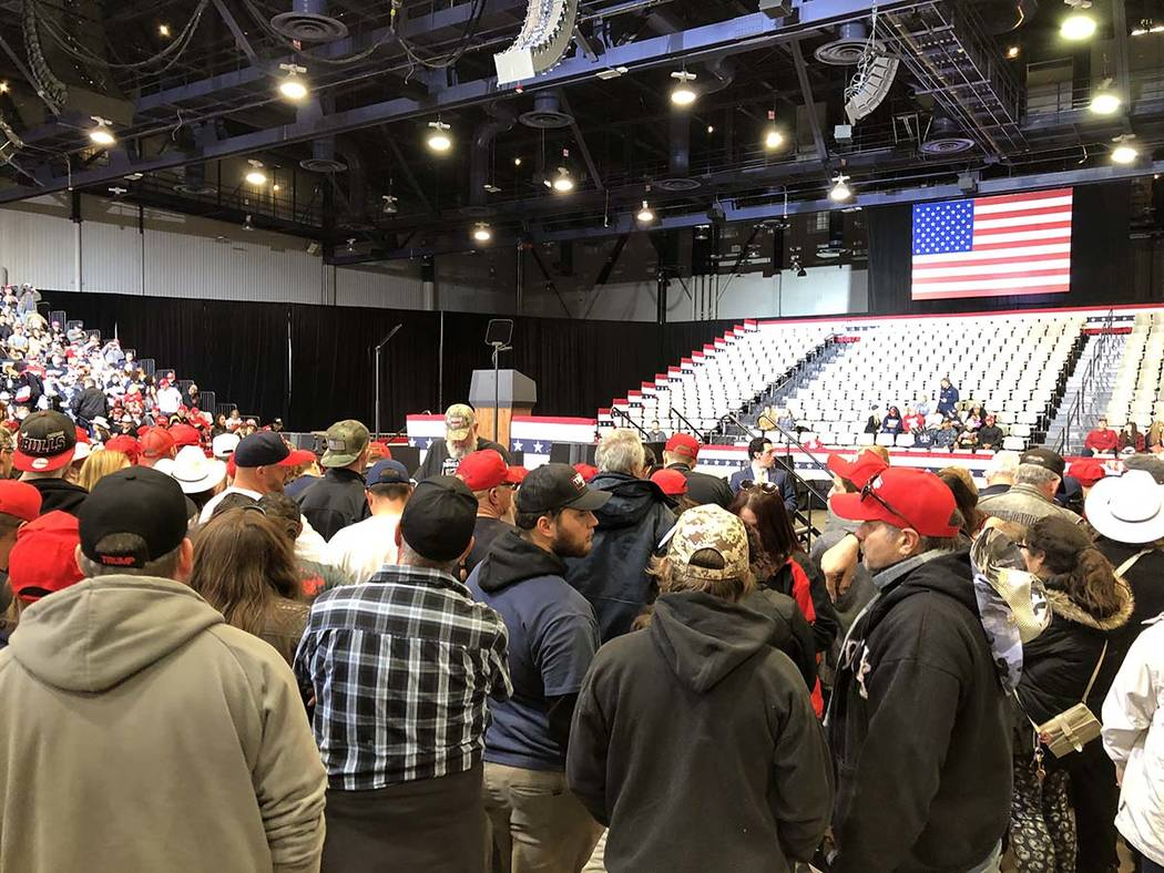 Rally goers settle in before the room fills up. (James Schaeffer/Las Vegas Review-Journal)