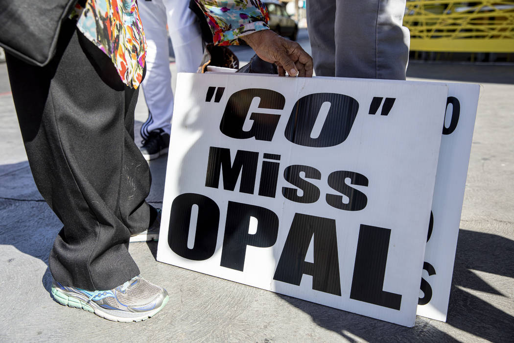 Opal Lee, 93, of Fort Worth, Texas, gets her sing read to walk the Fremont Street Experience as ...
