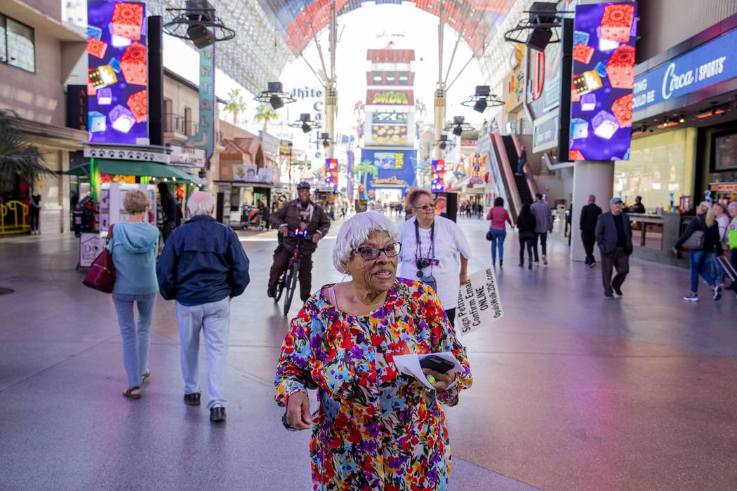 Opal Lee, 93, of Fort Worth, Texas, walks the Fremont Street Experience as part of a nationwide ...