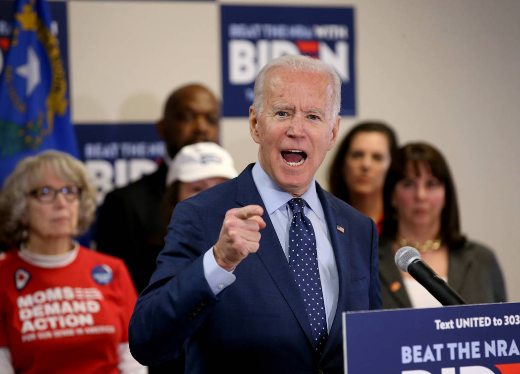 Former vice president and Democratic presidential candidate Joe Biden speaks at the Desert Bree ...