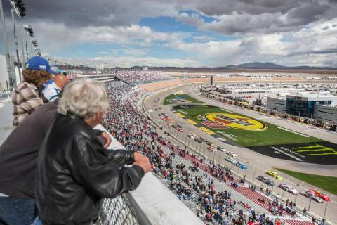 Drivers race around turn one during the NASCAR Xfinity Series Boyd Gaming 300 on Saturday, Marc ...