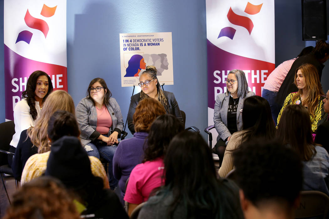 Aimee Allison, founder and president of She the People, from left, Raquel Cruz-Juarez, board ch ...