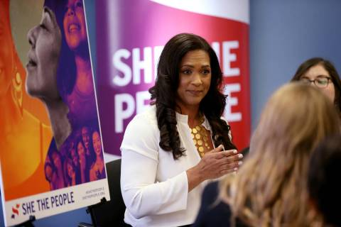 Aimee Allison, founder and president of She the People, during a roundtable discussion convened ...