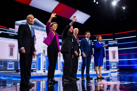 Democratic presidential candidates, from left, former New York City Mayor Michael Bloomberg, Se ...