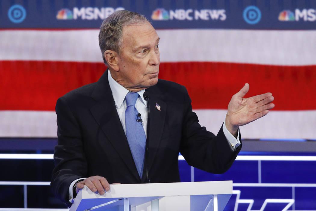 Former New York City Mayor Mike Bloomberg speaks during a Democratic presidential primary debat ...