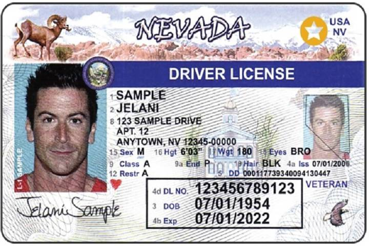 A sample of Nevada's Real ID (Nevada Department of Motor Vehicles)