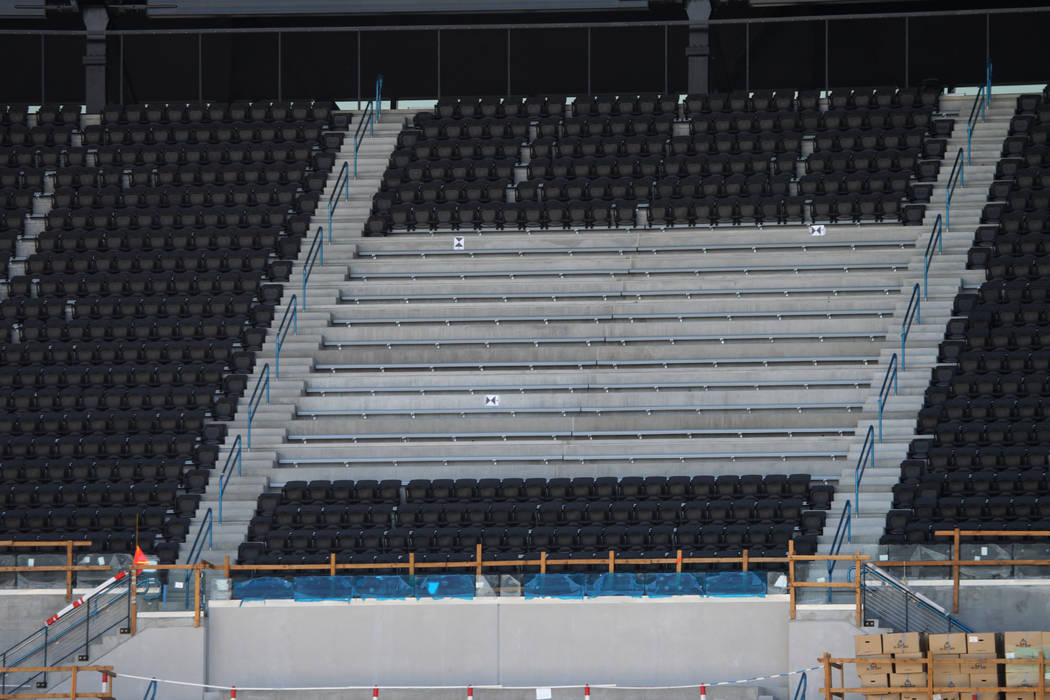Newly installed seating is seen during a tour of the Raiders Allegiant Stadium in Las Vegas, Tu ...