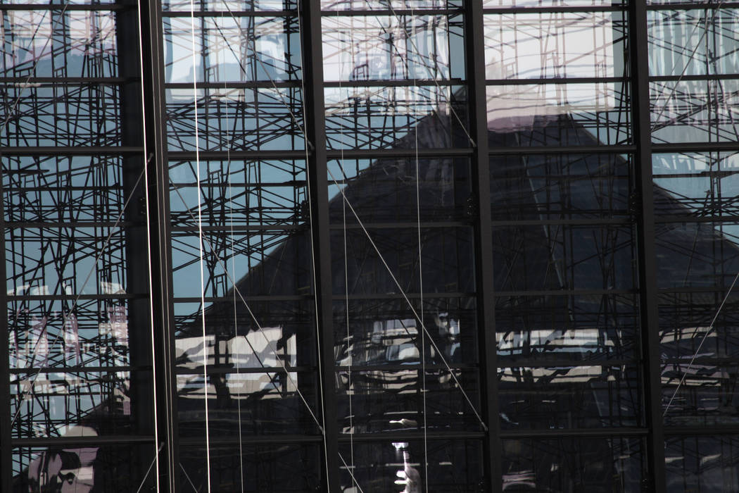 The view of the Luxor from inside the Raiders Allegiant Stadium in Las Vegas, Tuesday, Feb. 18, ...