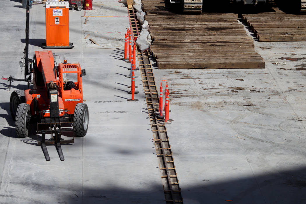 The field tray tracks inside the Raiders Allegiant Stadium in Las Vegas, Tuesday, Feb. 18, 2020 ...