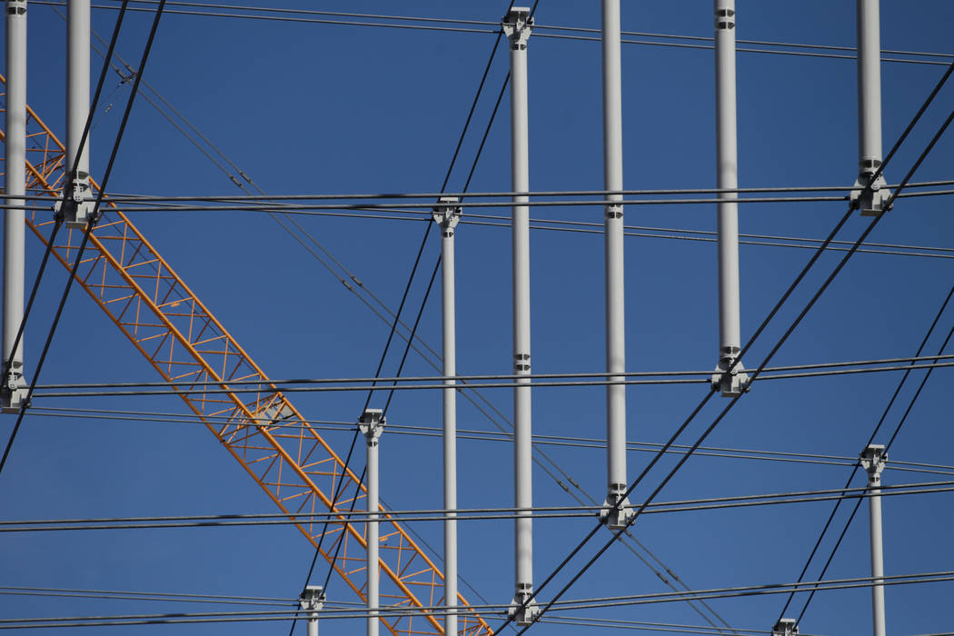 The steel cable net system at the Raiders Allegiant Stadium in Las Vegas, Tuesday, Feb. 18, 202 ...