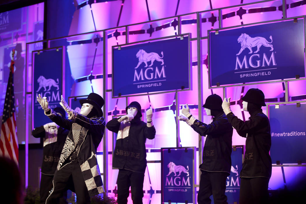 The Jabbawockeez perform during media day for the new MGM Springfield $960 million casino in Ma ...