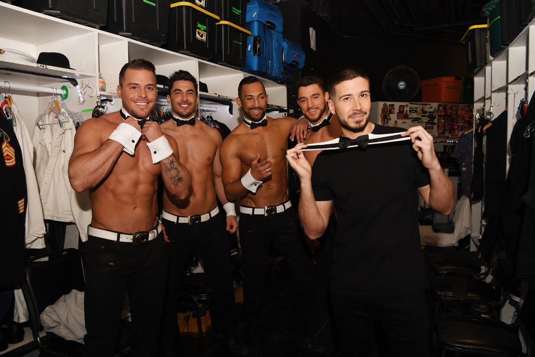 "Vinny 'Vinny G"" Guadagnino is shown with members of ""Chippendales"" at the Rio. He is performing ..."