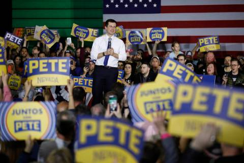Democratic presidential candidate former South Bend Mayor Pete Buttigieg speaks during a rally ...