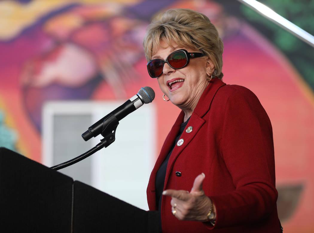 Mayor Carolyn Goodman speaks during the grand opening of dT-Alley in downtown Las Vegas on Thur ...