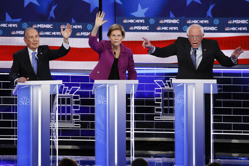 From left, Democratic presidential candidates, former New York City Mayor Mike Bloomberg, Sen. ...