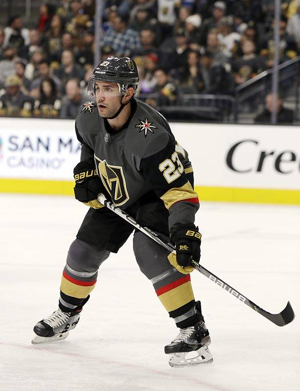 Vegas Golden Knights defenseman Alec Martinez watches a faceoff during the third period of the ...