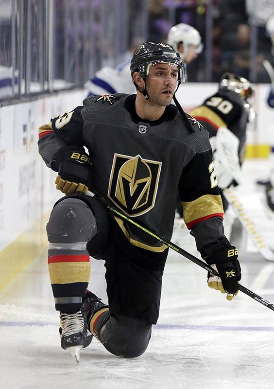 Vegas Golden Knights defenseman Alec Martinez warms up for the team's NHL hockey game against t ...