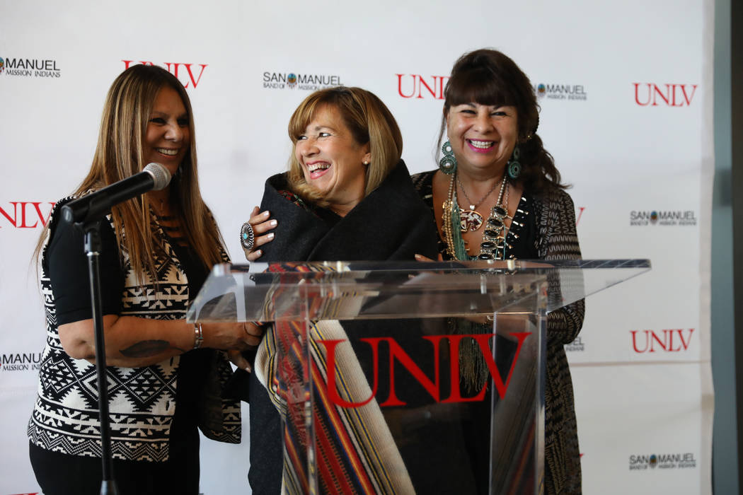 Audrey Martinez, left, and San Manuel Band of Mission Indians Chairwoman Lynn Valbuena wrap UNL ...