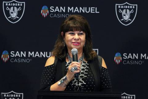 Lynn Valbuena, the San Manuel Band of Mission Indians chairwoman, speaks during a press confere ...